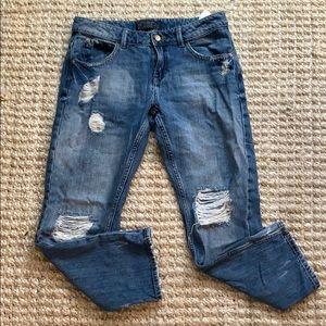 Zara Mid-Rise Ankle Crop Ripped Boyfriend Jeans 6